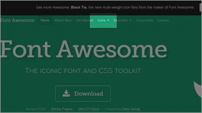 ページ上部のグローバルナビの中にある「Icons」をクリックしてアイコン一覧ページへアクセスします。