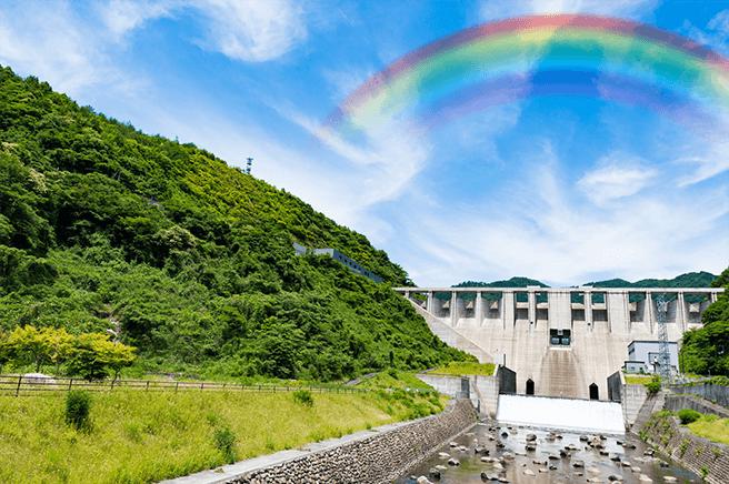背景画像に虹を乗せて透過をかけて自然な感じにする
